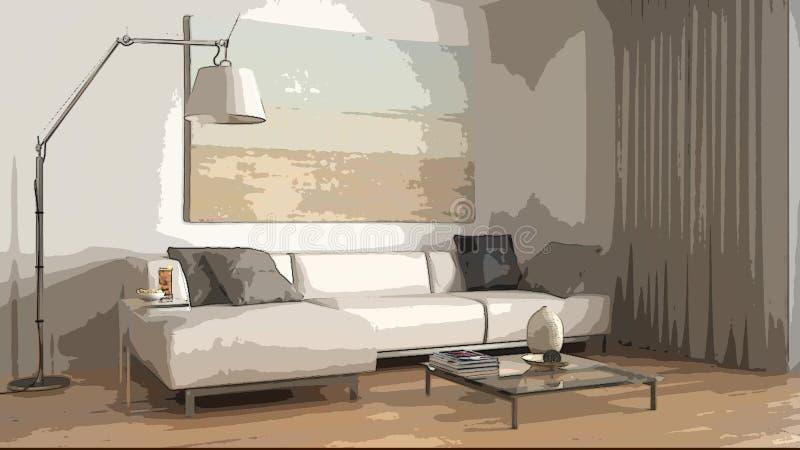 Beeldverhaalillustratie van comfortabele moderne woonkamer, binnenlands ontwerp Kleurrijke achtergrond, flatconcept met digitaal  stock illustratie