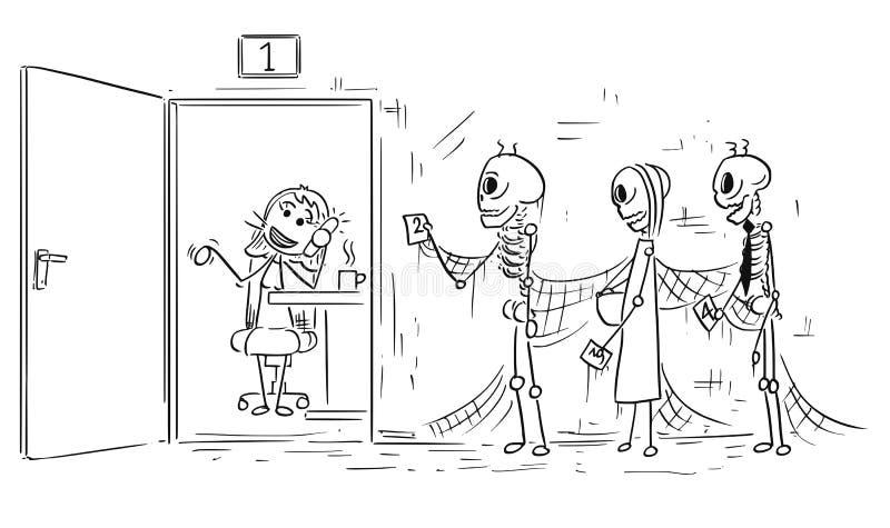Beeldverhaalillustratie van Drie Skeletten van Mensen het Sterven het Wachten stock illustratie