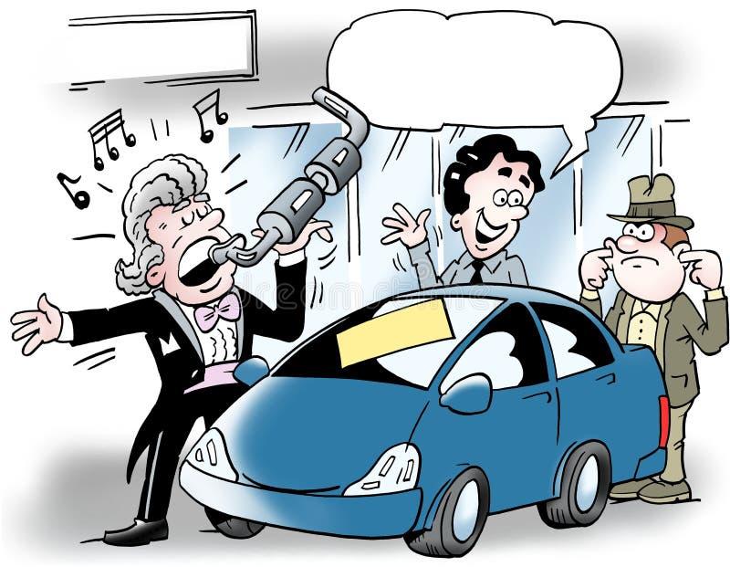 Beeldverhaalillustratie van een autoverkoper die in een autouitlaat zingt stock illustratie