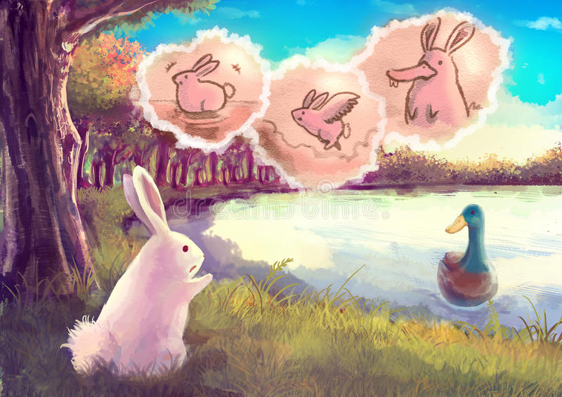Beeldverhaalillustratie van een leuk wit konijn die aan de eend spreken royalty-vrije illustratie