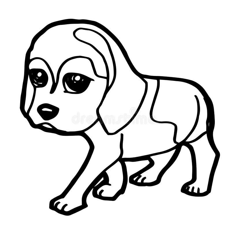 Beeldverhaalillustratie van Grappige Hond voor het Kleuren van Boek vector illustratie