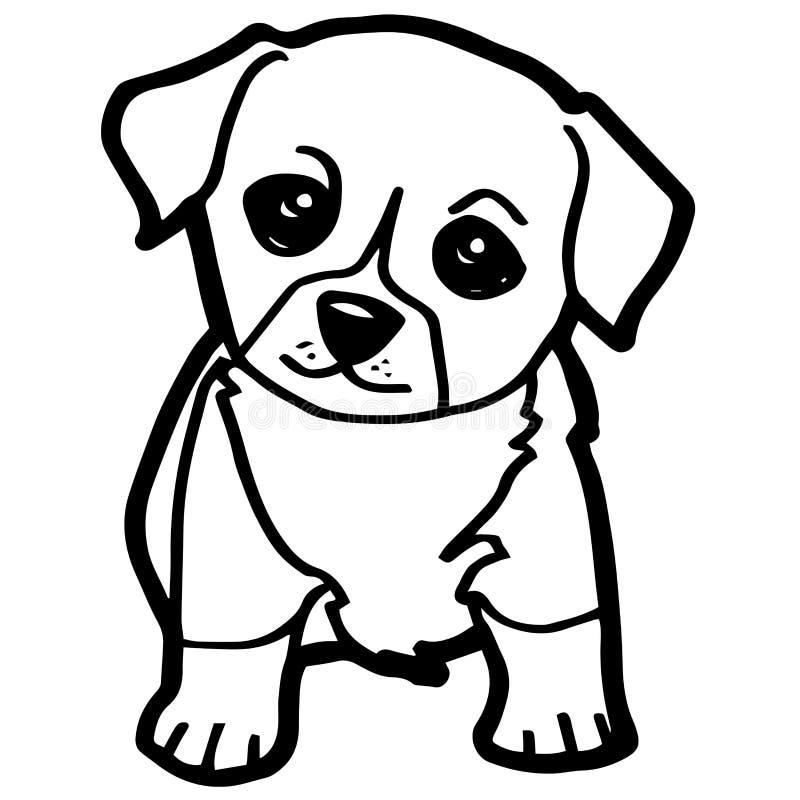 Beeldverhaalillustratie van Grappige Hond voor het Kleuren van Boek royalty-vrije illustratie