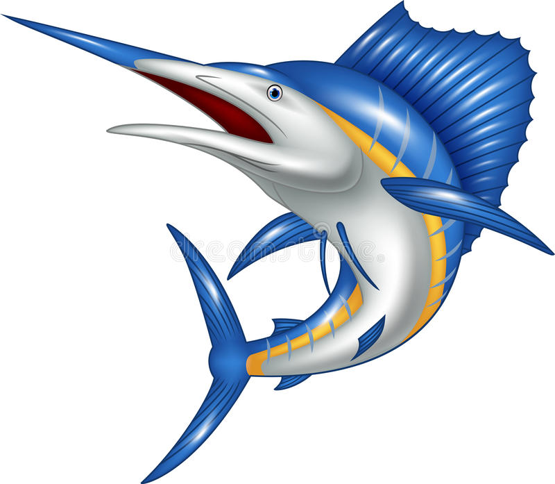 Beeldverhaalillustratie van het beeldverhaal van marlijnvissen vector illustratie