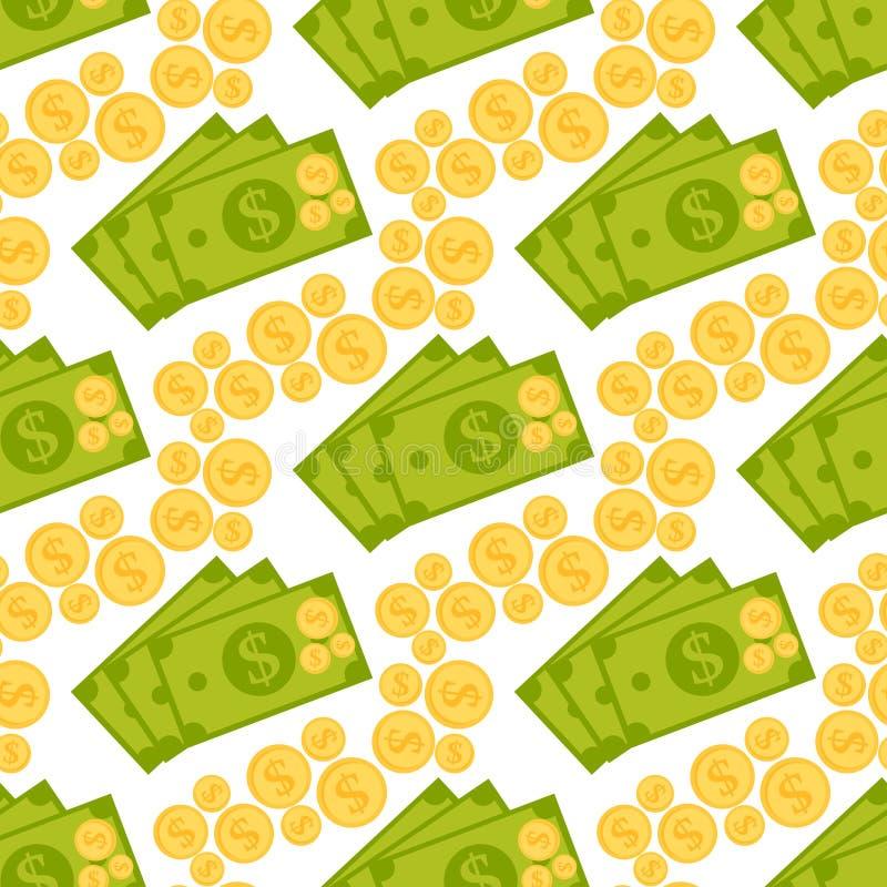 Beeldverhaalillustratie van van het het symbool vectorpatroon van de dollarmunt van de bedrijfs bankfinanciën naadloze geldachter royalty-vrije illustratie