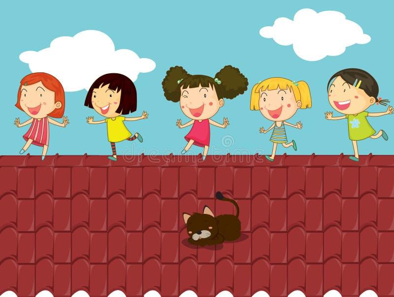 Beeldverhaalillustratie van jonge geitjes op het dak vector illustratie
