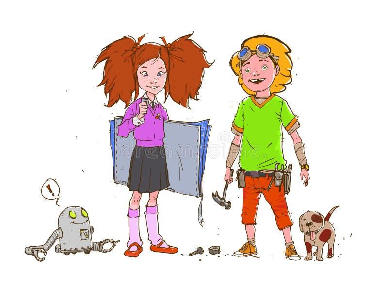 Beeldverhaalillustratie van jongen en meisje op wit geïsoleerde achtergrond Begaafde generatie van ontwikkelaars Het beeld is kla royalty-vrije illustratie