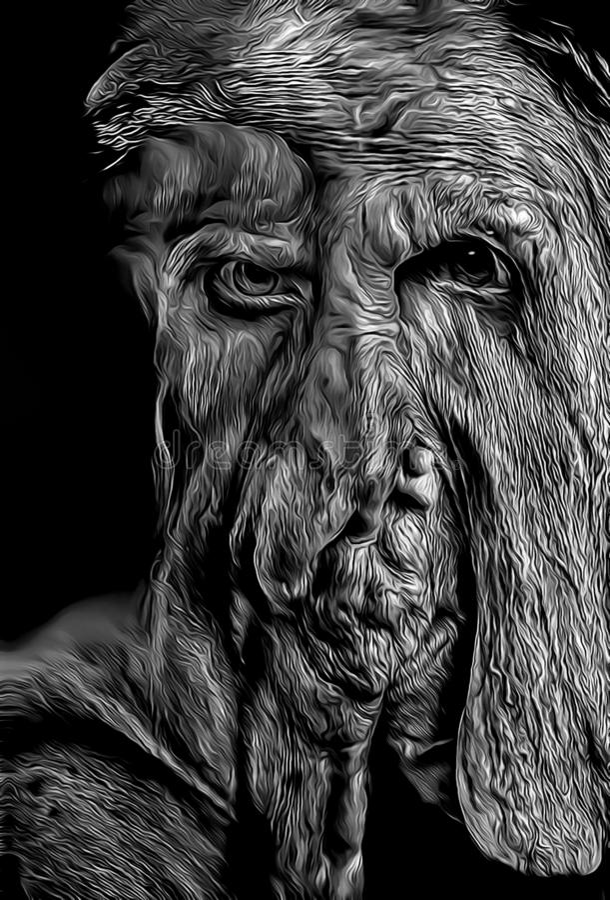 Beeldverhaalillustratie van lelijk monsterportret met eng gezicht royalty-vrije illustratie