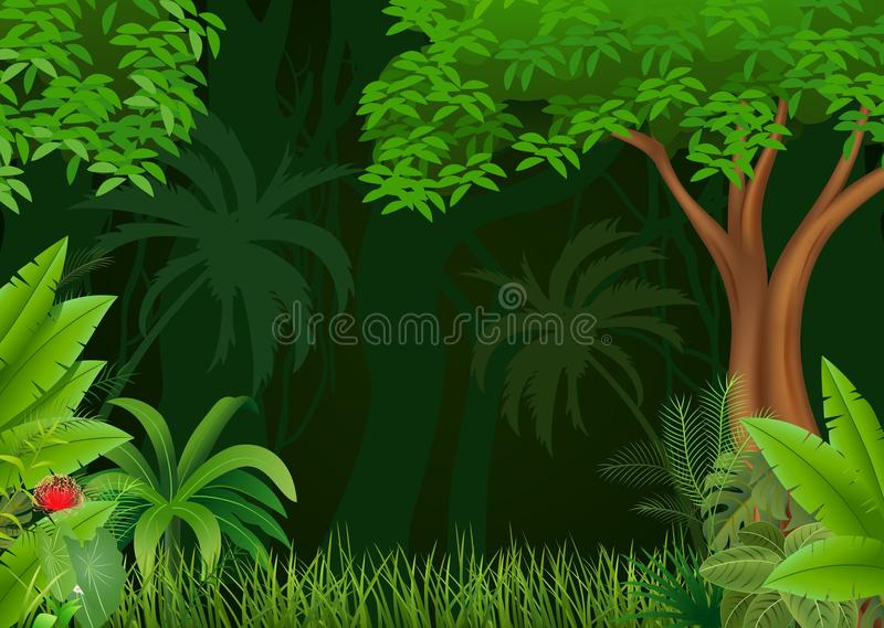 Beeldverhaalillustratie van mooie natuurlijke achtergrond stock illustratie