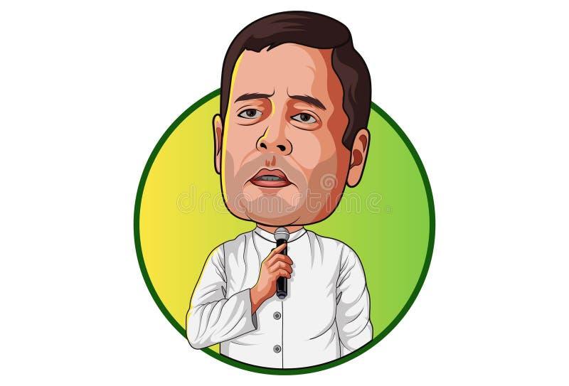 Beeldverhaalillustratie van Rahul Gandhi stock illustratie