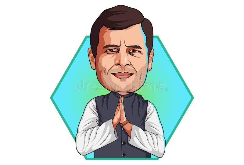 Beeldverhaalillustratie van Rahul Gandhi vector illustratie