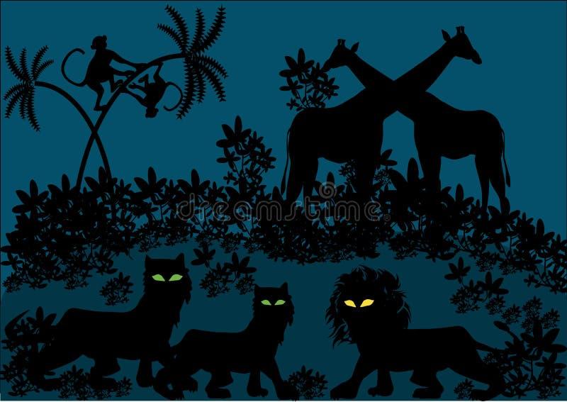 Beeldverhaalillustratie van 's nachts wildernis stock illustratie