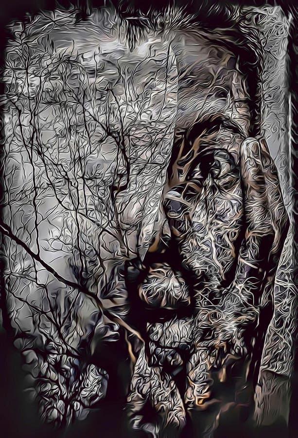 Beeldverhaalillustratie van spookvrouw met bezinning van bomen in water, nachtmerrieconcept royalty-vrije illustratie