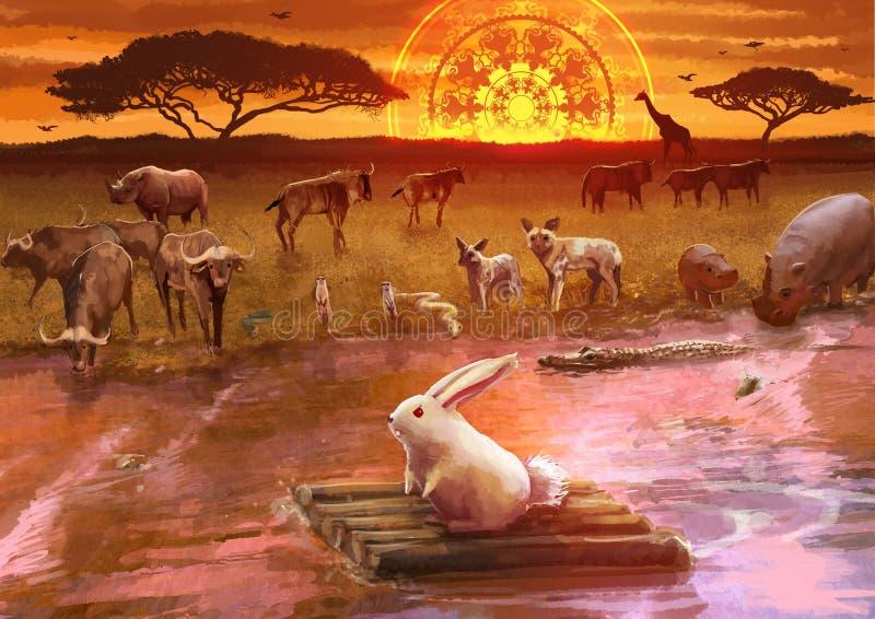 Beeldverhaalillustratie van wit konijnkonijntje in een avontuur journ vector illustratie