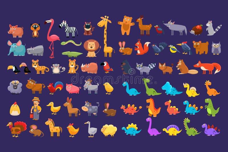 Beeldverhaalinzameling van grappige dieren De kleurrijke elementen voor kinderen s boeken, onderwijskaart, mobiele spel of sticke stock illustratie