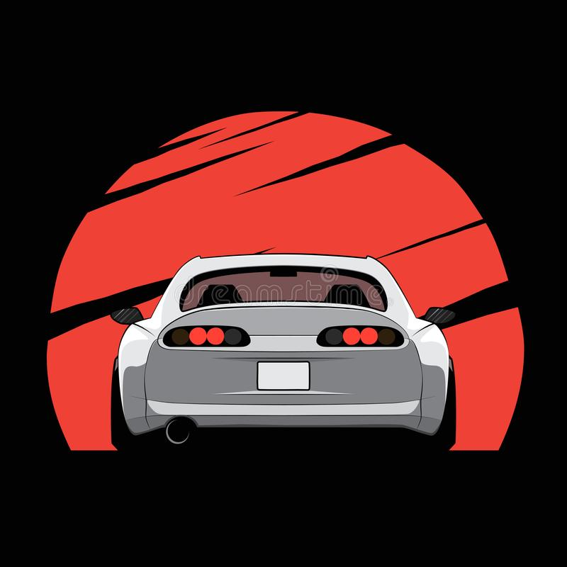 Beeldverhaaljapan gestemde auto op rode zonachtergrond Achter mening Vector illustratie royalty-vrije illustratie