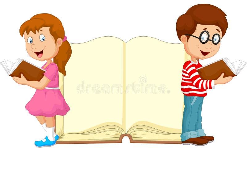 Beeldverhaaljonge geitjes die boek lezen stock illustratie