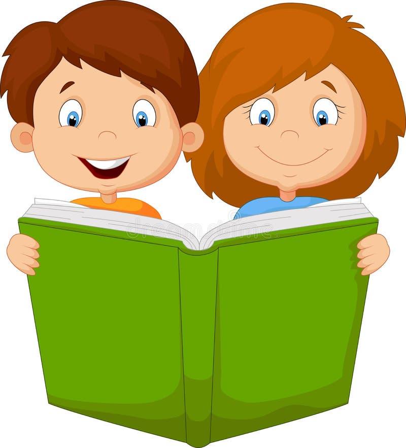 Beeldverhaaljonge geitjes die boek lezen vector illustratie
