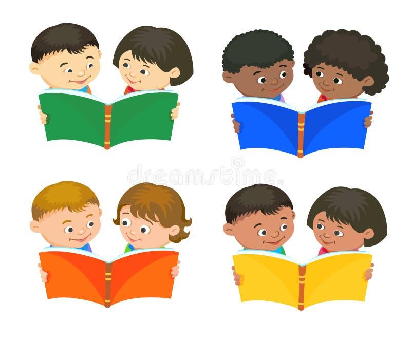 Beeldverhaaljonge geitjes die boekvector lezen vector illustratie