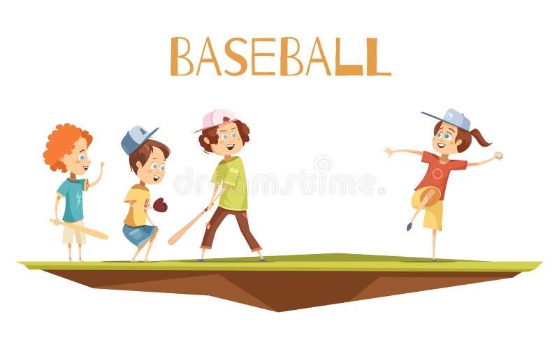 Beeldverhaaljonge geitjes die Honkbal Vectorillustratie spelen stock illustratie