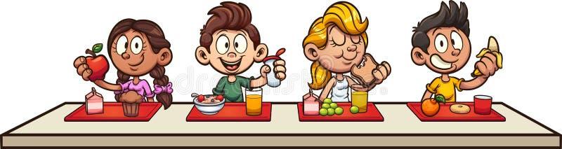 Beeldverhaaljonge geitjes die ontbijt eten op school stock illustratie