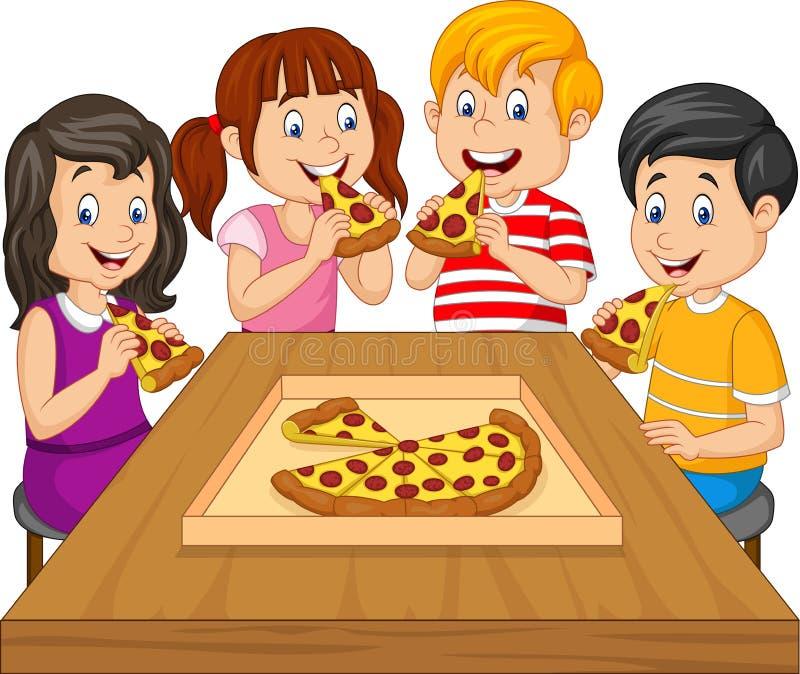 Beeldverhaaljonge geitjes die pizza samen eten vector illustratie
