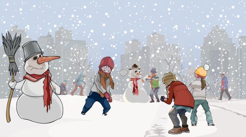 Beeldverhaaljonge geitjes die sneeuwbal in het park met sneeuwmannen spelen stock illustratie