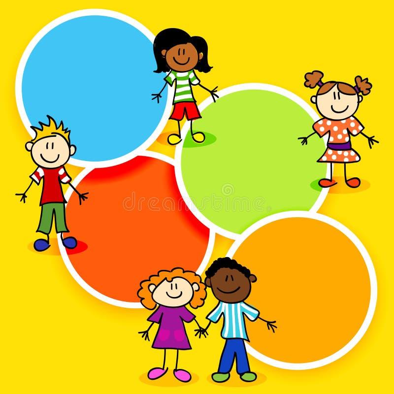 Beeldverhaaljonge geitjes en kleur cirkel-2 vector illustratie