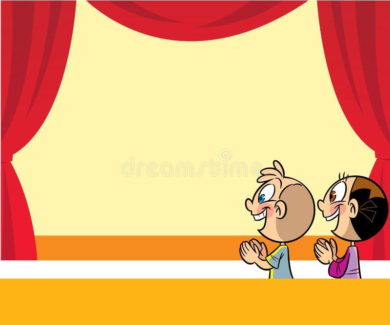 Beeldverhaaljonge geitjes in het theater vector illustratie