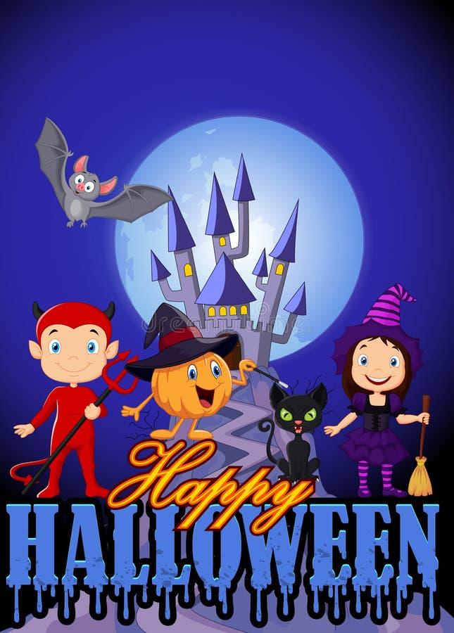Beeldverhaaljonge geitjes met Halloween-kostuum en pompoentovenaar vector illustratie