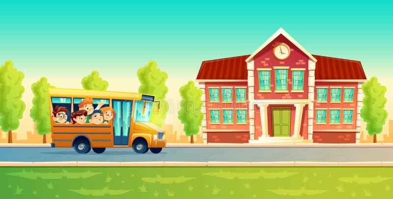 beeldverhaaljonge geitjes terug naar school op gele bus vector illustratie