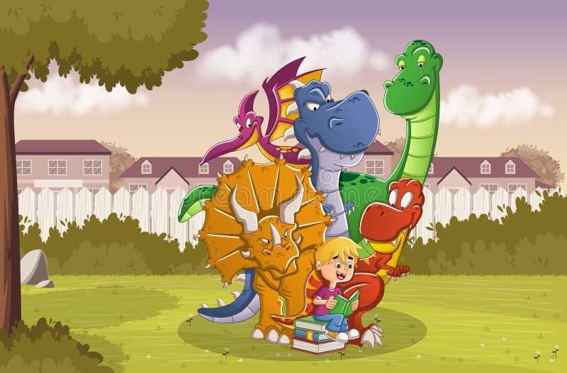 Beeldverhaaljongen die een boek lezen aan grote dinosaurussen op de binnenplaats van een kleurrijk huis in voorstadbuurt vector illustratie