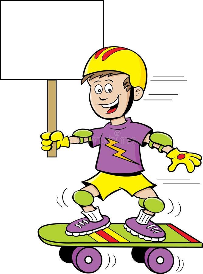 Beeldverhaaljongen die een skateboard berijden terwijl het houden van een teken stock illustratie