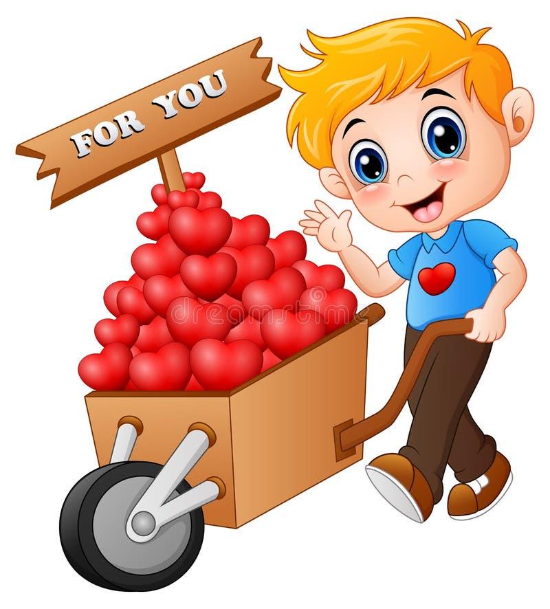 Beeldverhaaljongen die een stapel van harten in houten karretje voor u duwen stock illustratie