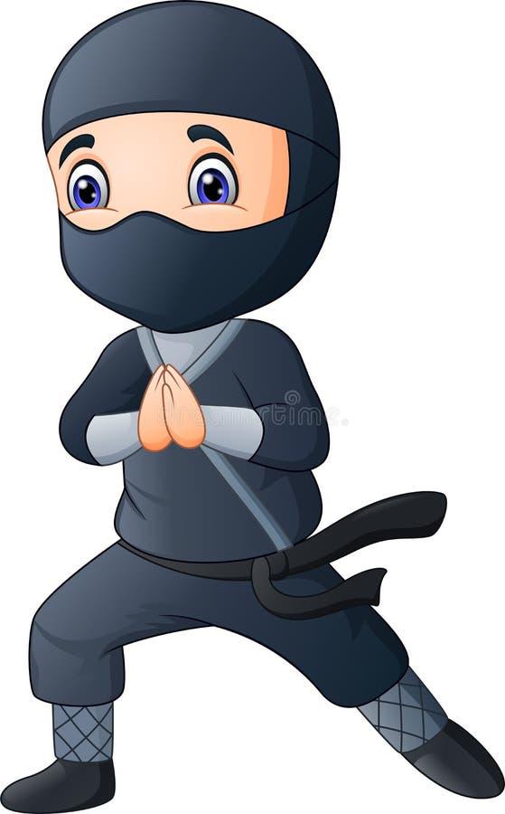 Beeldverhaaljongen die een zwart ninjakostuum dragen royalty-vrije illustratie