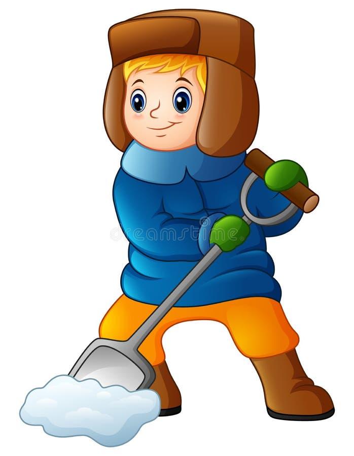 Beeldverhaaljongen die sneeuw scheppen vector illustratie