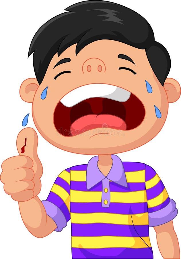 Beeldverhaaljongen die wegens een besnoeiing op zijn duim schreeuwen vector illustratie