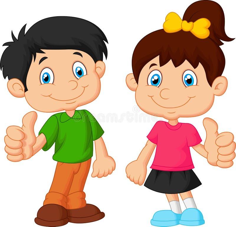 Beeldverhaaljongen en meisje die duim opgeven stock illustratie