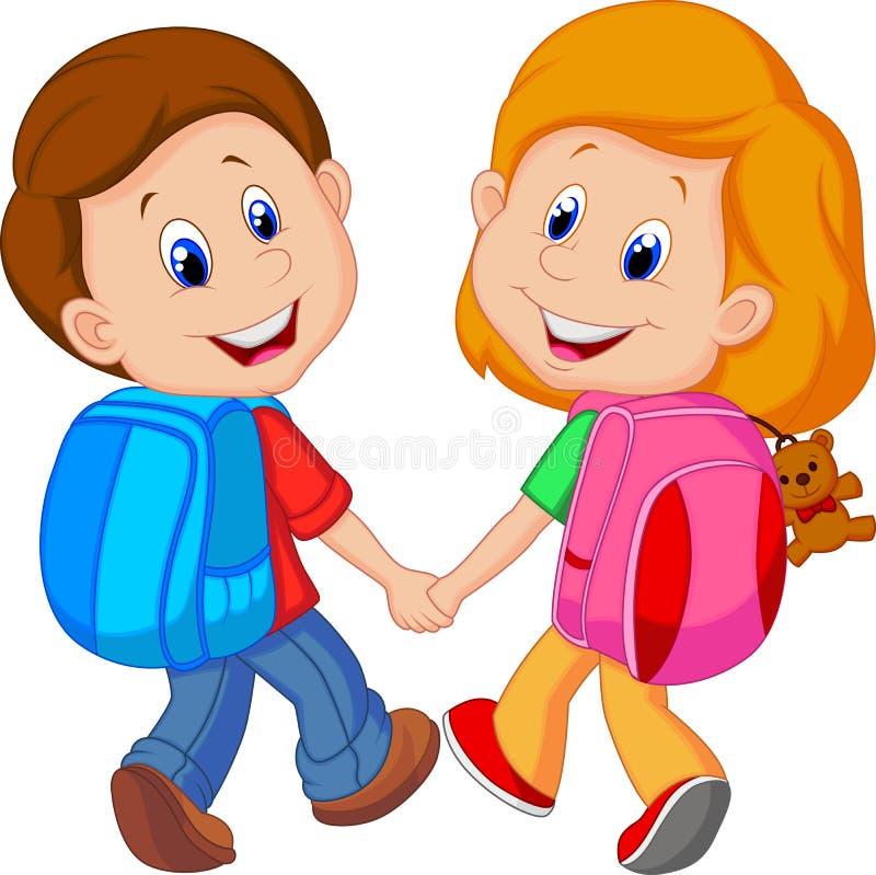Beeldverhaaljongen en meisje met rugzakken stock illustratie