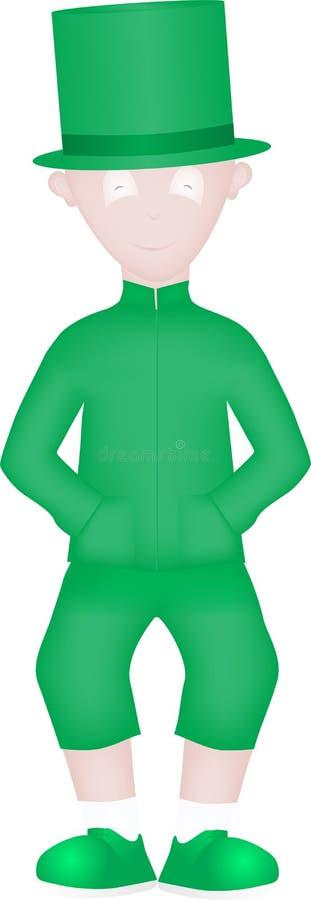 Beeldverhaaljongen in groen vector illustratie