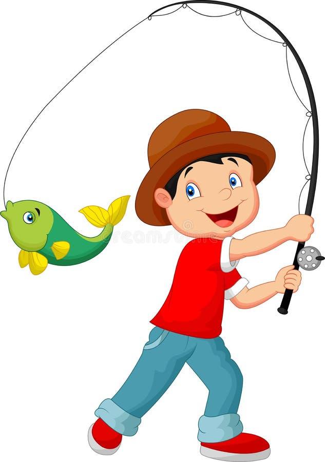 Beeldverhaaljongen visserij stock illustratie