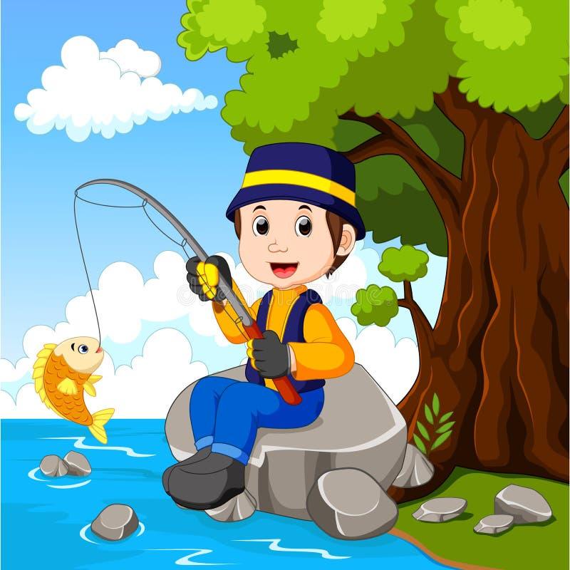Beeldverhaaljongen visserij royalty-vrije illustratie