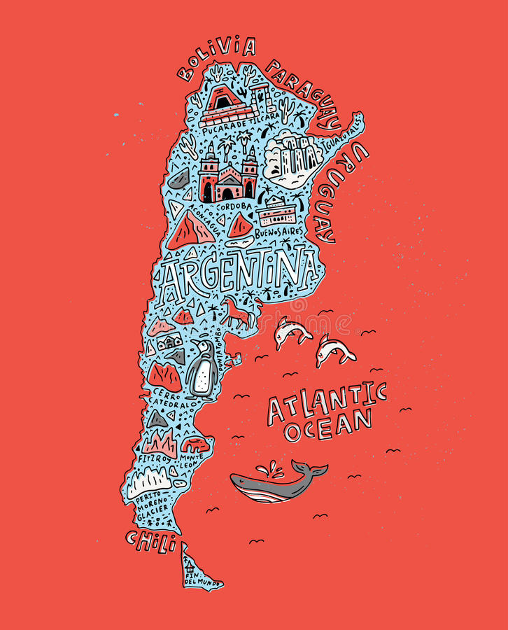 Beeldverhaalkaart Argentinië stock illustratie