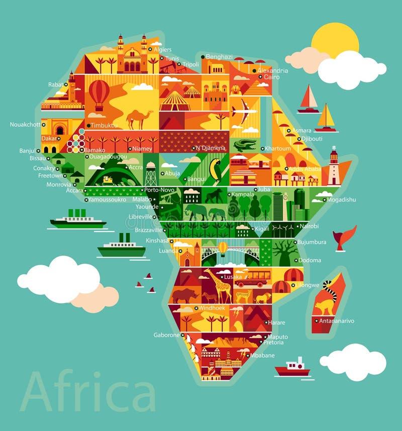 Beeldverhaalkaart van Afrika stock illustratie