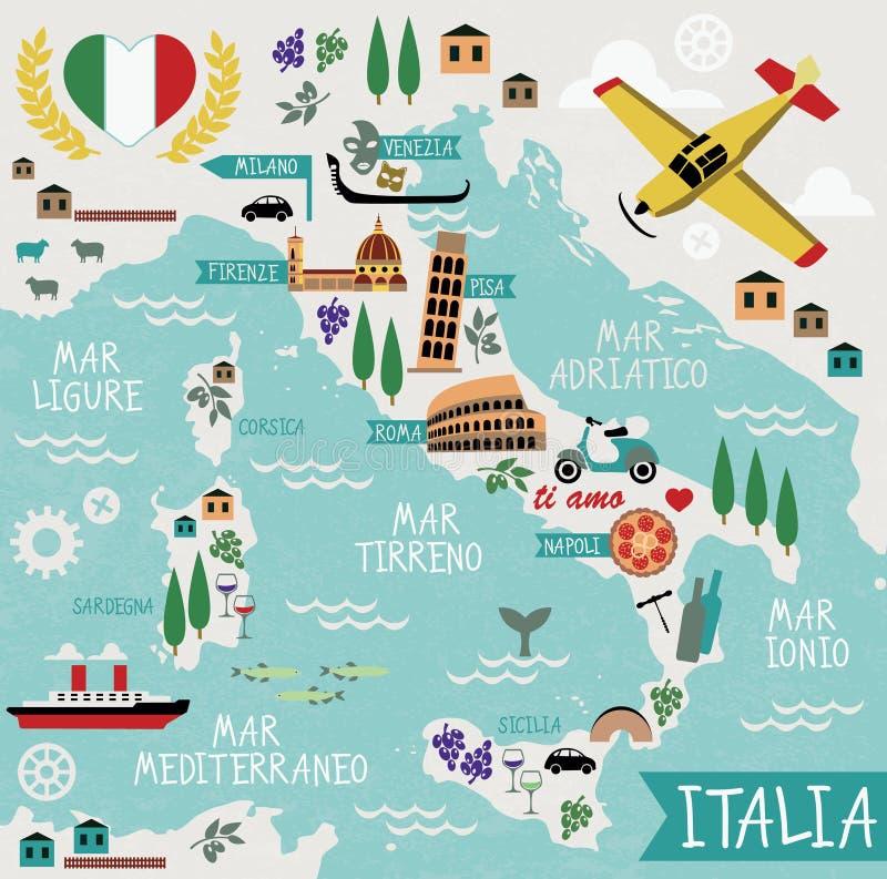 Beeldverhaalkaart van Italië stock illustratie