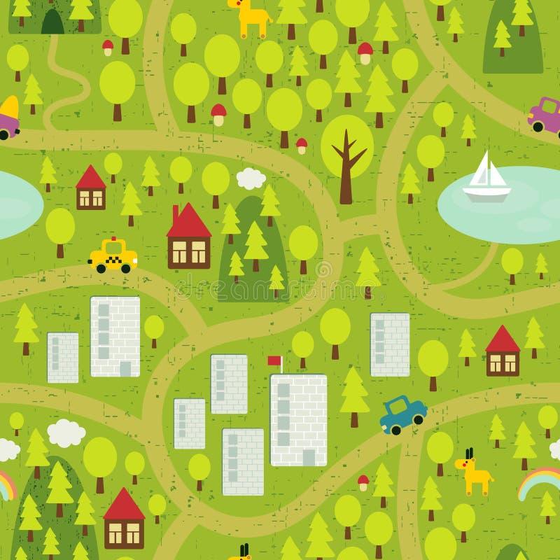 Beeldverhaalkaart van klein stad en platteland. stock foto