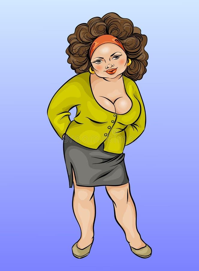 Beeldverhaalkarakter, mollige jonge vrouwen grote grootte stock illustratie
