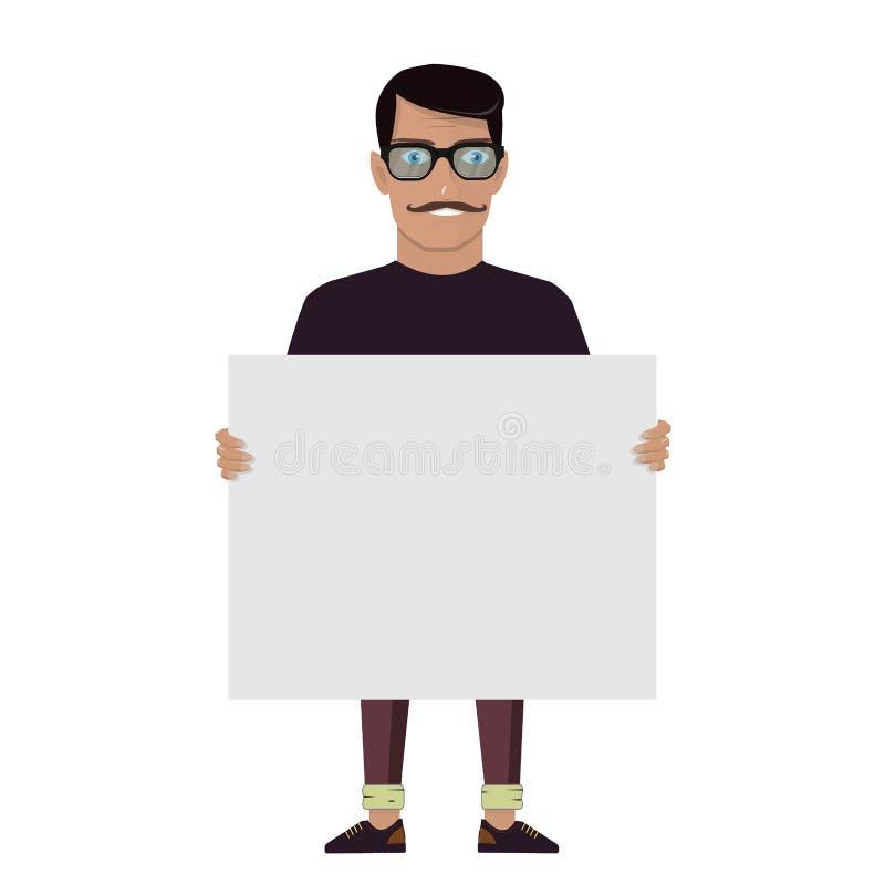 Beeldverhaalkarakter op een witte achtergrond De mens houdt grote witte kaart Vectortekenraad Modieuze hoog gedetailleerde grafis royalty-vrije illustratie