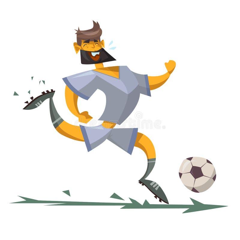 Beeldverhaalkarakter van een voetballer vector illustratie