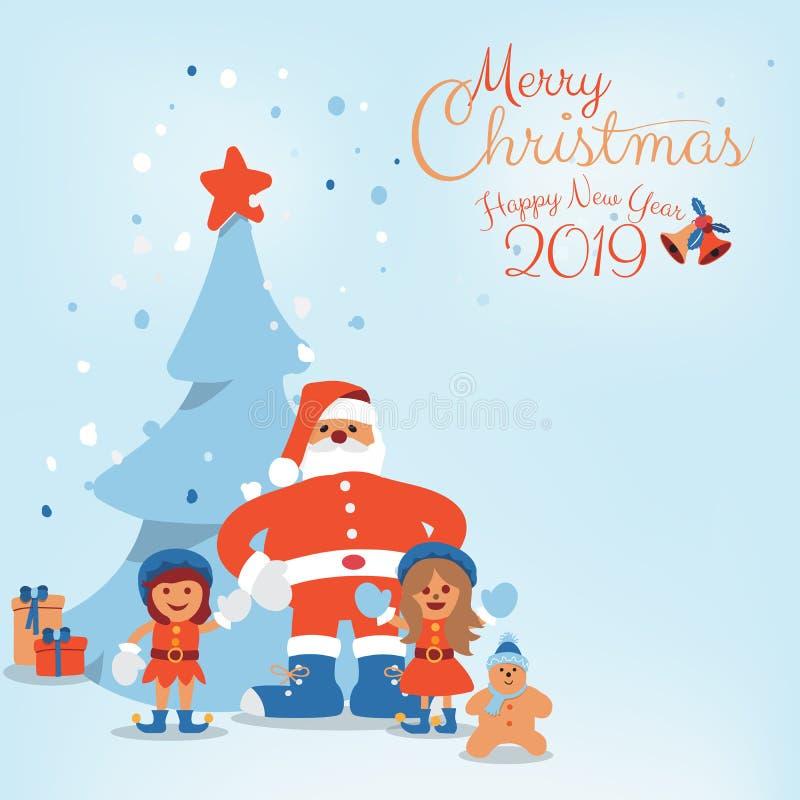 Beeldverhaalkarakter van Santa Claus, Jonge geitjes en Kerstboom met Hand geschreven Vrolijke Kerstmis vector illustratie