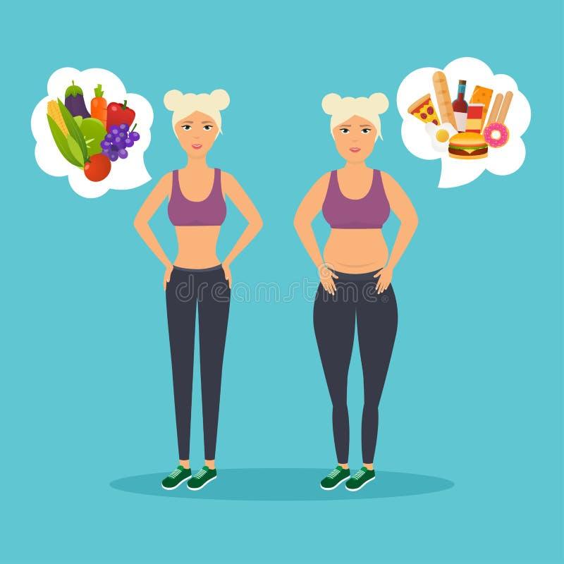 Beeldverhaalkarakter van vette vrouw en mager meisje Dieet Keus van gi vector illustratie